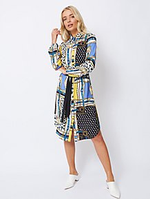 42651563323 Blue Scarf Print Midi Shirt Dress