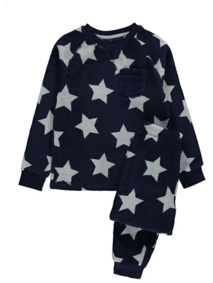 Navy Star Print Fleece Pyjama Gift Set