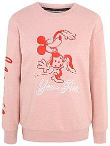 5647507006 Disney Mickey Mouse Pink Yoo-Hoo Slogan Sweatshirt