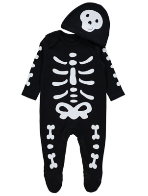 Halloween Skeleton All in One and Hat Outfit