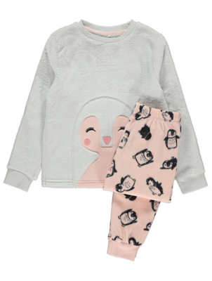 Pink Penguin Fleece Pyjama Gift Set