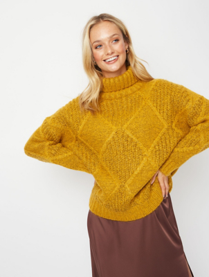 Mustard Tonal Roll Neck Chunky Knit Jumper