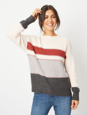 Pink Striped Panel Lurex Jumper
