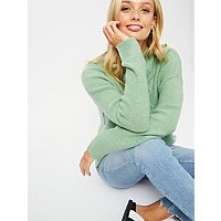 Green Turtle Neck Bouclé Jumper by Asda