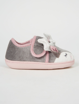 Grey Reindeer Full Back Slippers