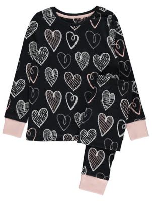 Black Heart Print Pyjamas