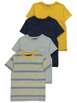 Mustard Yellow and Navy T-Shirts 4 Pack