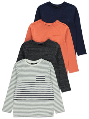 Striped Long Sleeve Tops 4 Pack