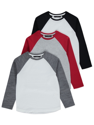 Long Sleeve Raglan Tops 3 Pack