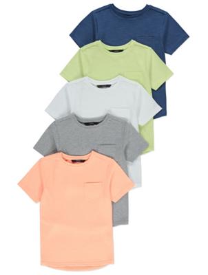 Pastel Pocket Detail T-Shirts 5 Pack
