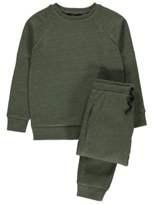 Khaki Ribbed Panel Sweatshirt and Joggers Outfit