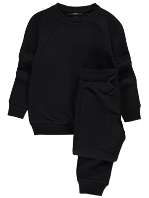 Black Ribbed Panel Sweatshirt and Joggers Outift