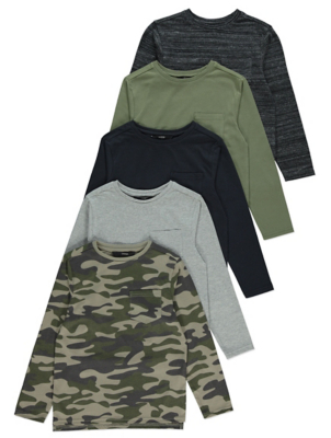 Camo Long Sleeve Tops 5 Pack
