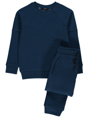 Navy Ribbed Panel Sweatshirt and Joggers Outfit