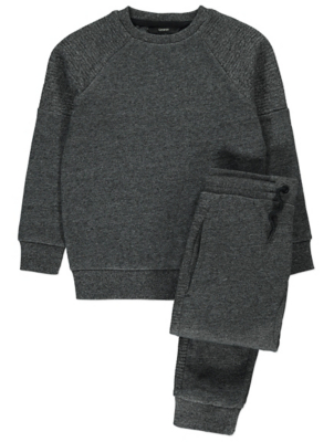 Charcoal Ribbed Panel Sweatshirt and Joggers Outfit