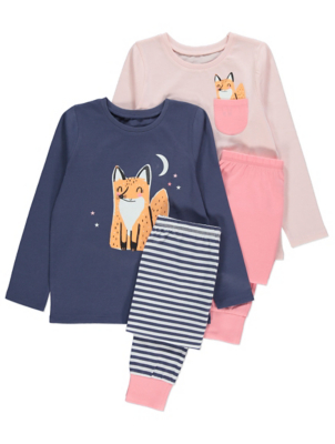Pink Happy Fox Long Sleeve Pyjamas 2 Pack