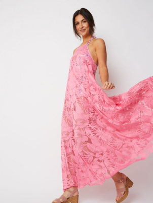 Pink Lace Halter Pleated Cover Up Maxi Dress