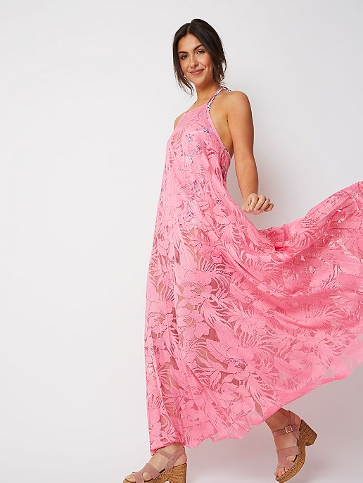 a5a45e6915ce Pink Lace Halter Pleated Cover Up Maxi Dress | Women | George