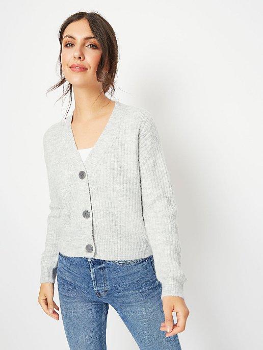 Grey Ribbed Knit Cropped Cardigan