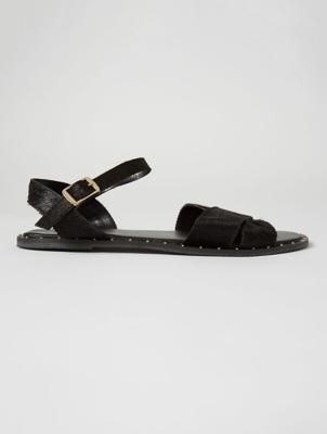 Black Leather Short Faux Fur Sandals