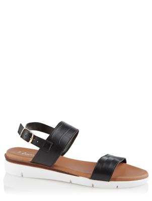 Black Leather Sporty Slingback Sandals