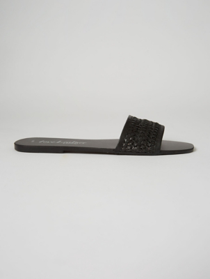 Black Leather Woven Mule Sandals