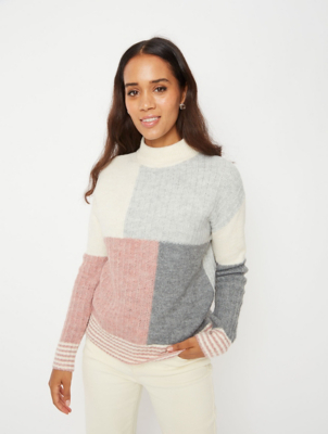 Cream Patchwork High Neck Textured Crop Jumper