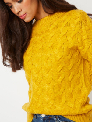 Ochre Basket Cable Knit Slouchy Jumper
