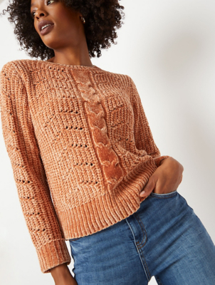 Light Brown Chenille Cable Crew Neck Jumper