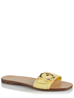 Lemon Yellow Leather Horseshoe Buckle Slide Mules