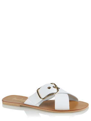 White Leather Crossover Buckle Mule Sandals