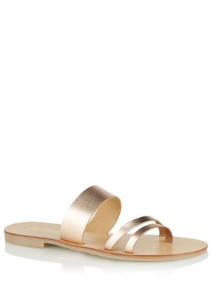 Bronze Leather Strappy Mule Sandals