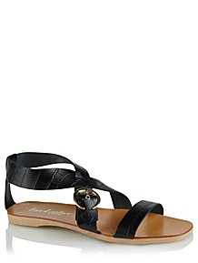 6567dd3d22767 Black Leather Crossover Gladiator Sandals