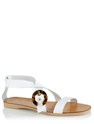 White Leather Resin Buckle Slingback Sandals