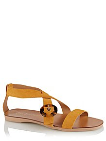 35f6bc99ffef0 Yellow Suede Resin Buckle Slingback Sandals