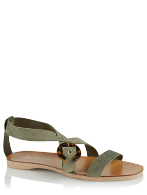 Khaki Suede Resin Buckle Sandals