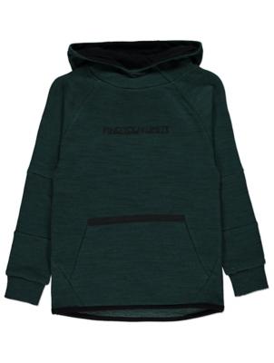 Green Marl Textured Slogan Hoodie