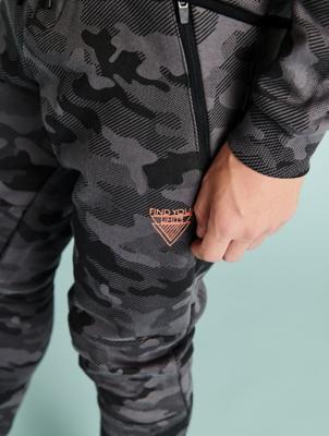 Charcoal Camo Print Slogan Emblem Joggers