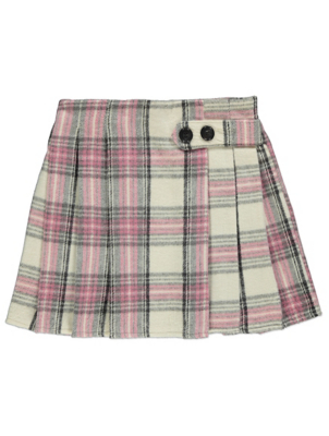 Pink Check Pleated Mini Skirt