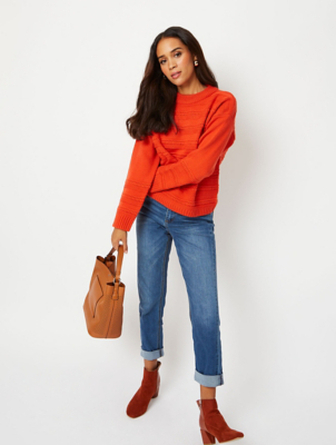 Orange Textured Stripe Jumper