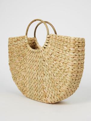 Natural Woven Half Moon Bag