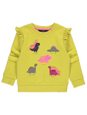 Yellow Dinosaur Print Ruffled Sweatshirt
