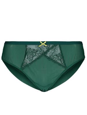 Green Stripe Lace Panel Brazilian Knickers