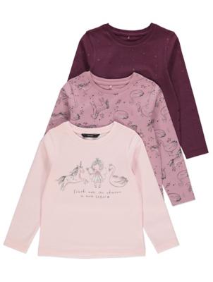 Purple Unicorn Print Long Sleeve Tops 3 Pack
