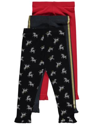 Zebra Print Frill Leggings 3 Pack
