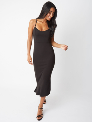 Black Strappy Frill Scuba Midi Dress