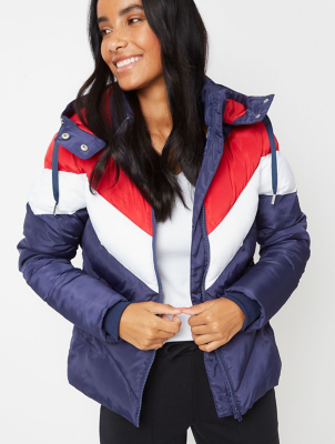 Navy Chevron Stripe Padded Coat