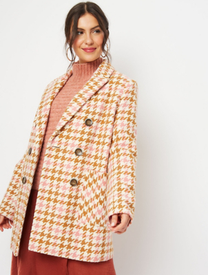 Tan Dogtooth Checked Peacoat
