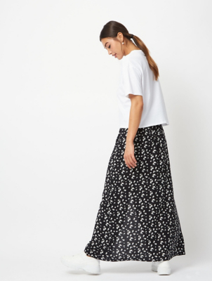 Black Ditzy Floral Button Front Maxi Skirt
