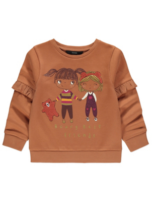Tan Beary Best Friends Slogan Sweatshirt